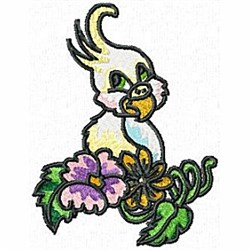 Cockatoo with Flowers embroidery design