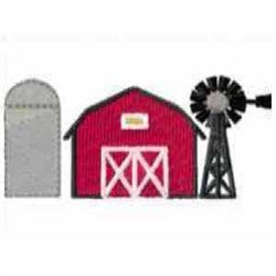 Windmill with Barn embroidery design