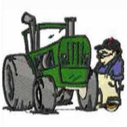 Farmer with Tractor embroidery design