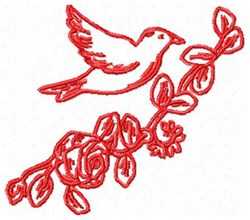 RW Bird with Flowers embroidery design