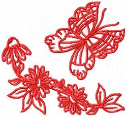 RW Butterfly with Coneflower embroidery design