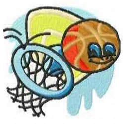 Smiling Basketball embroidery design
