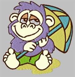 Monkey with Umbrella embroidery design