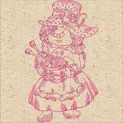 Redwork Knitting Woman embroidery design