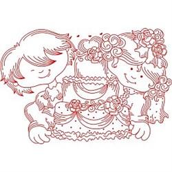 Redwork Wedding Cake embroidery design
