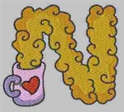 Winter Alphabet N embroidery design