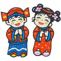 Chinese Kids embroidery design