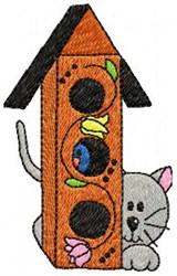 Cat & Birdhouse embroidery design