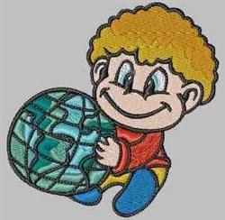 Boy & Globe embroidery design