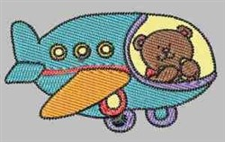 Teddy In Plane embroidery design
