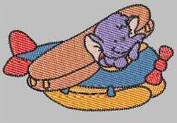 Elephant In Plane embroidery design