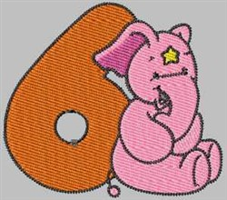 Elephant Number 6 embroidery design