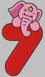Elephant Number 7 embroidery design