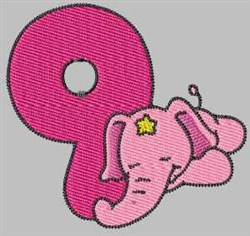 Elephant Number 9 embroidery design
