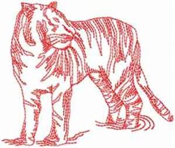 Red Work Tiger embroidery design