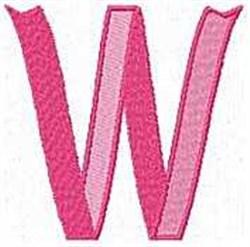 Ribbon Letter W embroidery design