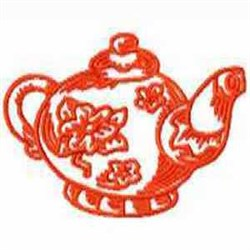 Red Work Pot embroidery design