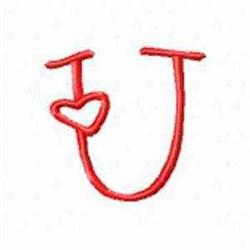 Valentine Alphabet U embroidery design