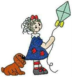Raggedy With Kite embroidery design