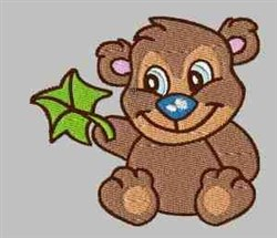 Bear With Leaf embroidery design