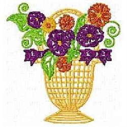Handbasket Flowers embroidery design