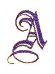 Elegant Alphabet A embroidery design
