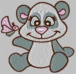 Panda & Butterfly embroidery design