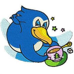 Coffee Penguin embroidery design