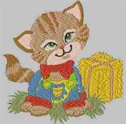 Cat & Hay Bale embroidery design