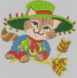 Cat & Wheat embroidery design