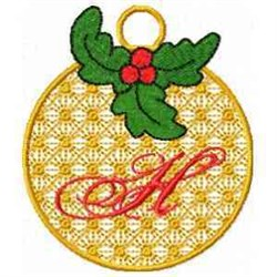 Ornament Letter H embroidery design
