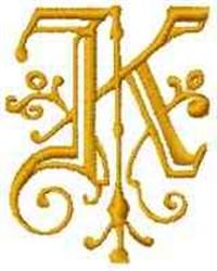 Fantasy Alphabet K embroidery design