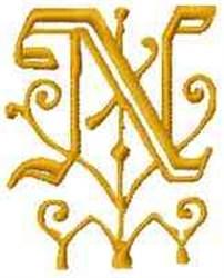 Fantasy Alphabet N embroidery design