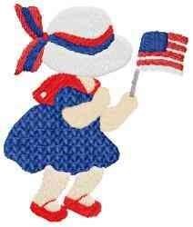 Girl USA Flag embroidery design