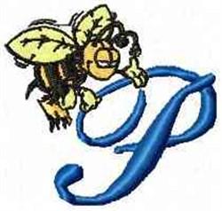Bee Happy P embroidery design