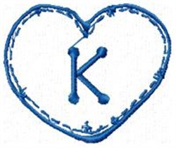Country Heart K embroidery design
