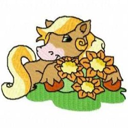 Country Horse with Flowers embroidery design