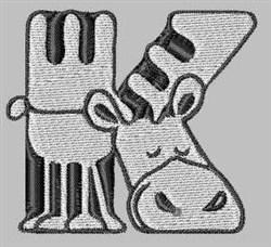 Critter Font K embroidery design