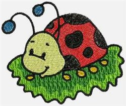 Ladybug on Grass embroidery design