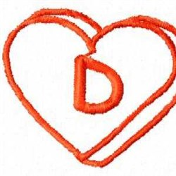 Heart D embroidery design