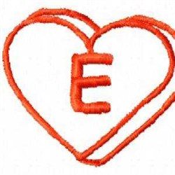 Heart E embroidery design