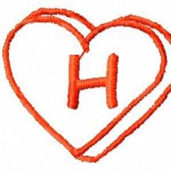 Heart H embroidery design