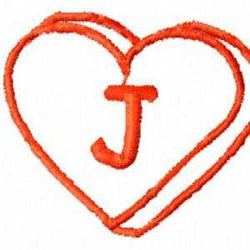 Heart J embroidery design