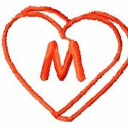 Heart M embroidery design