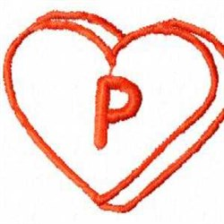 Heart P embroidery design