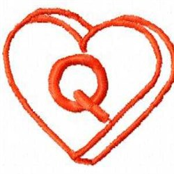 Heart Q embroidery design