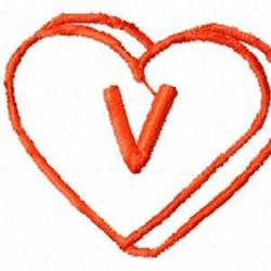 Heart V embroidery design