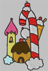 Candy Cane Castle embroidery design