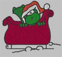 Christmas Gator Sleigh embroidery design