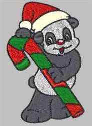 Candy Cane Panda embroidery design